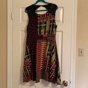 Forever 21 Plus 3x Skater Dress w/ faux Leather